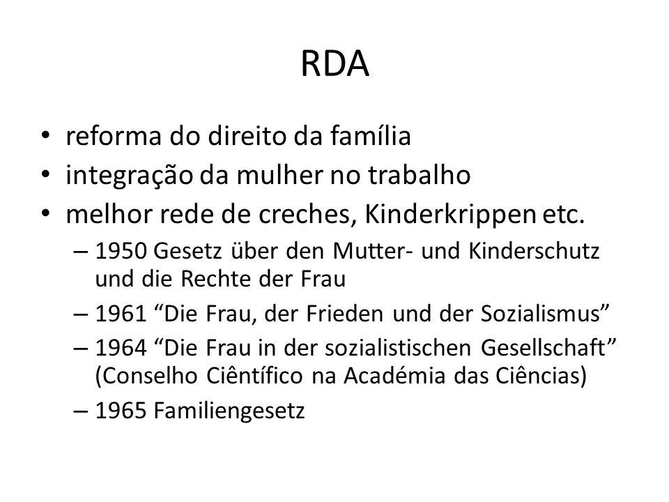 RDA reforma do direito da família integração da mulher no trabalho melhor rede de creches, Kinderkrippen etc. – 1950 Gesetz über den Mutter- und Kinde