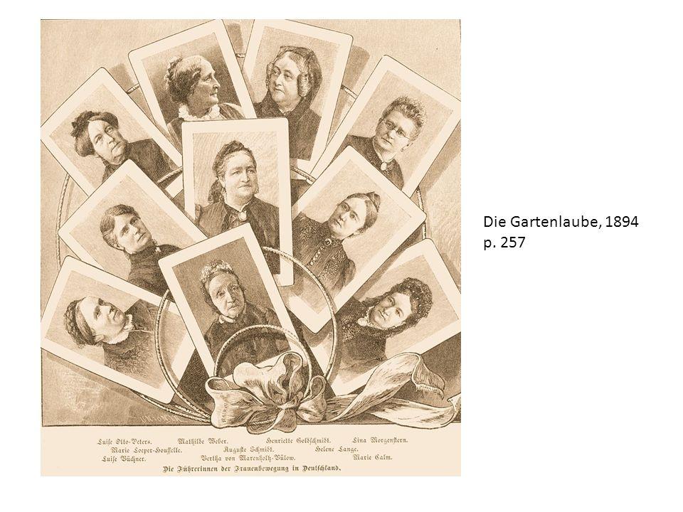 4 ensaios: Was die Pastoren von den Frauen denken, 1872 Der Jesuitismus im Hausstande, 1873 Die wissenschaftliche Emancipation der Frauen, 1874 Der Frauen Natur und Recht.