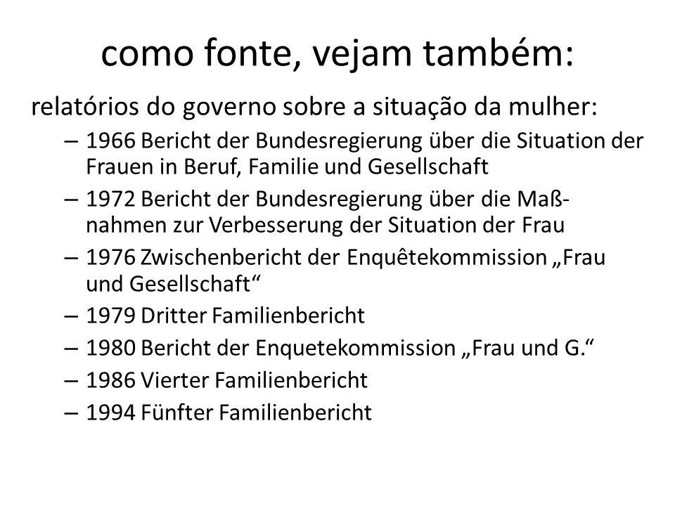 como fonte, vejam também: relatórios do governo sobre a situação da mulher: – 1966 Bericht der Bundesregierung über die Situation der Frauen in Beruf,