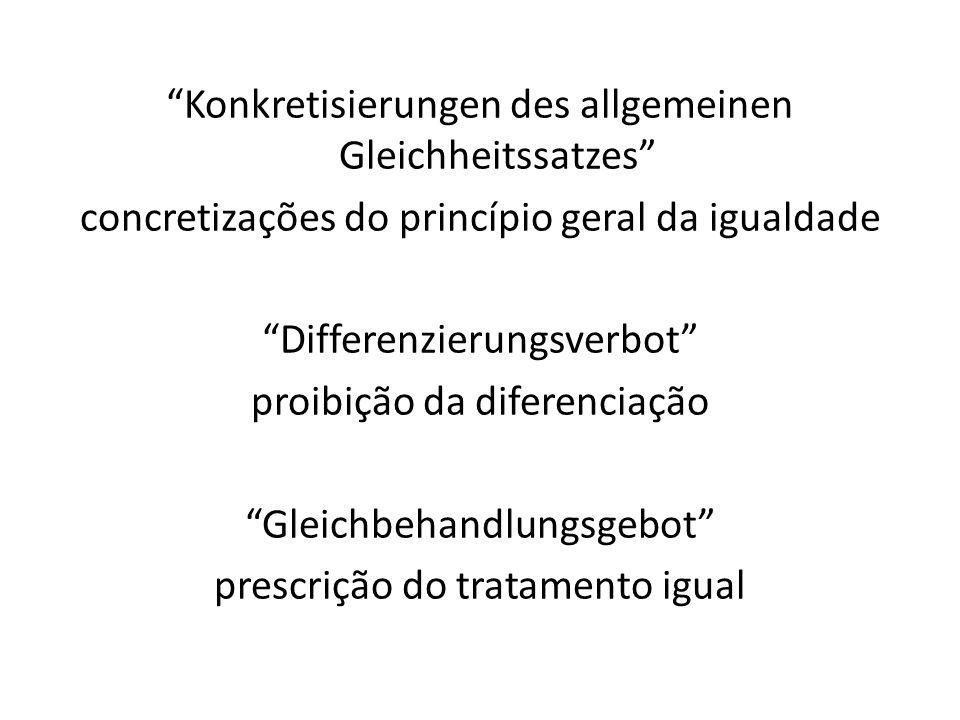 Konkretisierungen des allgemeinen Gleichheitssatzes concretizações do princípio geral da igualdade Differenzierungsverbot proibição da diferenciação G