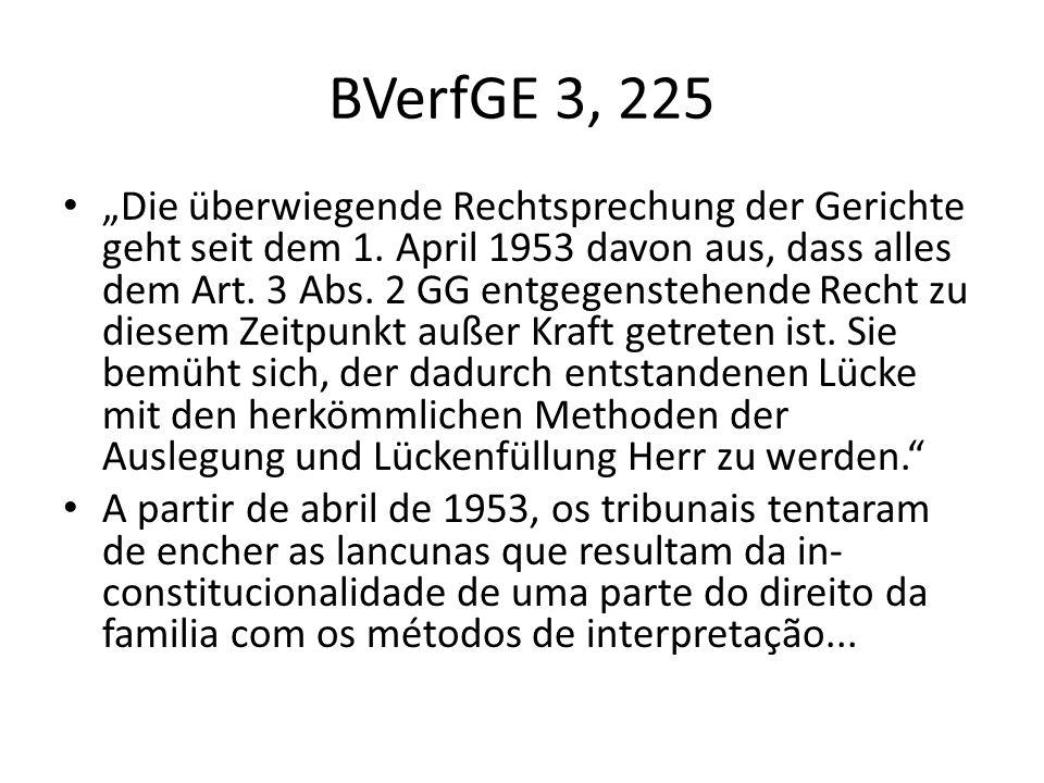 BVerfGE 3, 225 Die überwiegende Rechtsprechung der Gerichte geht seit dem 1. April 1953 davon aus, dass alles dem Art. 3 Abs. 2 GG entgegenstehende Re