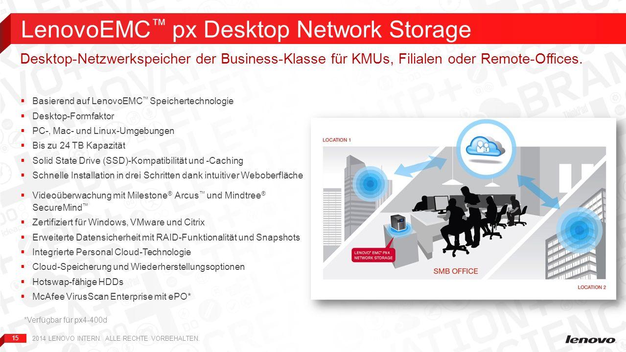 15 Basierend auf LenovoEMC Speichertechnologie Desktop-Formfaktor PC-, Mac- und Linux-Umgebungen Bis zu 24 TB Kapazität Solid State Drive (SSD)-Kompat