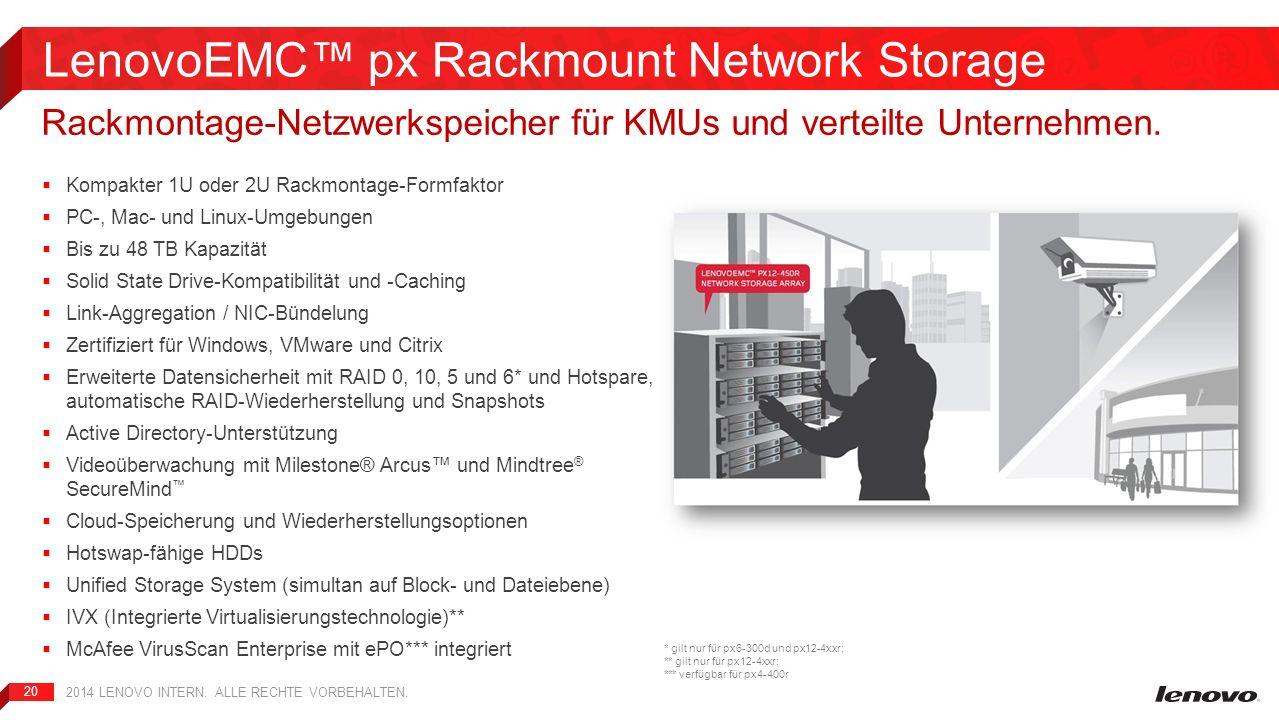 20 Kompakter 1U oder 2U Rackmontage-Formfaktor PC-, Mac- und Linux-Umgebungen Bis zu 48 TB Kapazität Solid State Drive-Kompatibilität und -Caching Lin