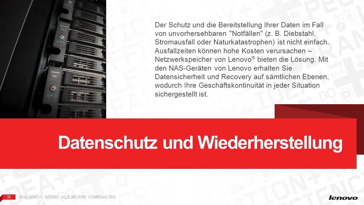 32 2014 LENOVO INTERN. ALLE RECHTE VORBEHALTEN. Datenschutz und Wiederherstellung Der Schutz und die Bereitstellung Ihrer Daten im Fall von unvorherse