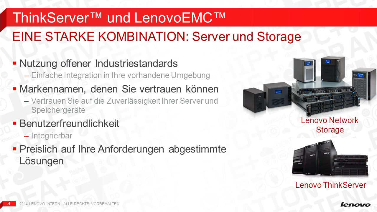 5 UnternehmenstypKleinMittelGroß KapazitätBis zu 8 TBBis zu 24 TBBis zu 48 TB Lenovo Netzwerkspeicher- Lösungen LenovoEMC px2-300dLenovoEMC px4-400d LenovoEMC px6-300d LenovoEMC px Rackmontage-Serie KundentypHome-Office, Kleinbüro, Videoüberwachung KMU, Filiale, Einzelhandel, medizinische Einrichtungen Abteilung, Unternehmen, KMU ThinkServer LösungIntegrierbar mit TS- Servern Integrierbar mit TS- und TD-Servern Integrierbar mit RD- Servern Speicherintegration in Serverumgebung 2014 LENOVO INTERN.