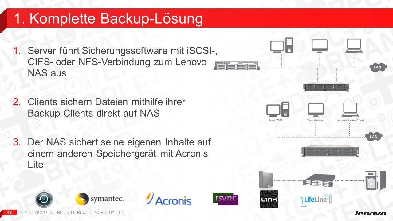 42 1.Server führt Sicherungssoftware mit iSCSI-, CIFS- oder NFS-Verbindung zum Lenovo NAS aus 2.Clients sichern Dateien mithilfe ihrer Backup-Clients