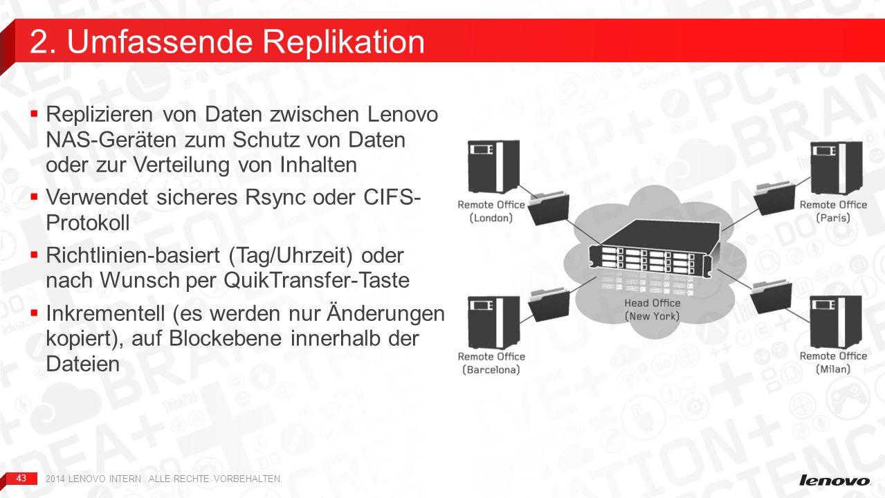 43 Replizieren von Daten zwischen Lenovo NAS-Geräten zum Schutz von Daten oder zur Verteilung von Inhalten Verwendet sicheres Rsync oder CIFS- Protoko