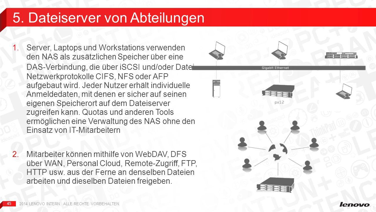 45 1.Server, Laptops und Workstations verwenden den NAS als zusätzlichen Speicher über eine DAS-Verbindung, die über iSCSI und/oder Datei- Netzwerkpro
