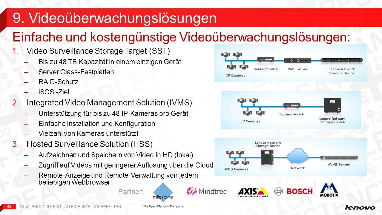 49 1.Video Surveillance Storage Target (SST) –Bis zu 48 TB Kapazität in einem einzigen Gerät –Server Class-Festplatten –RAID-Schutz –iSCSI-Ziel 2.Inte
