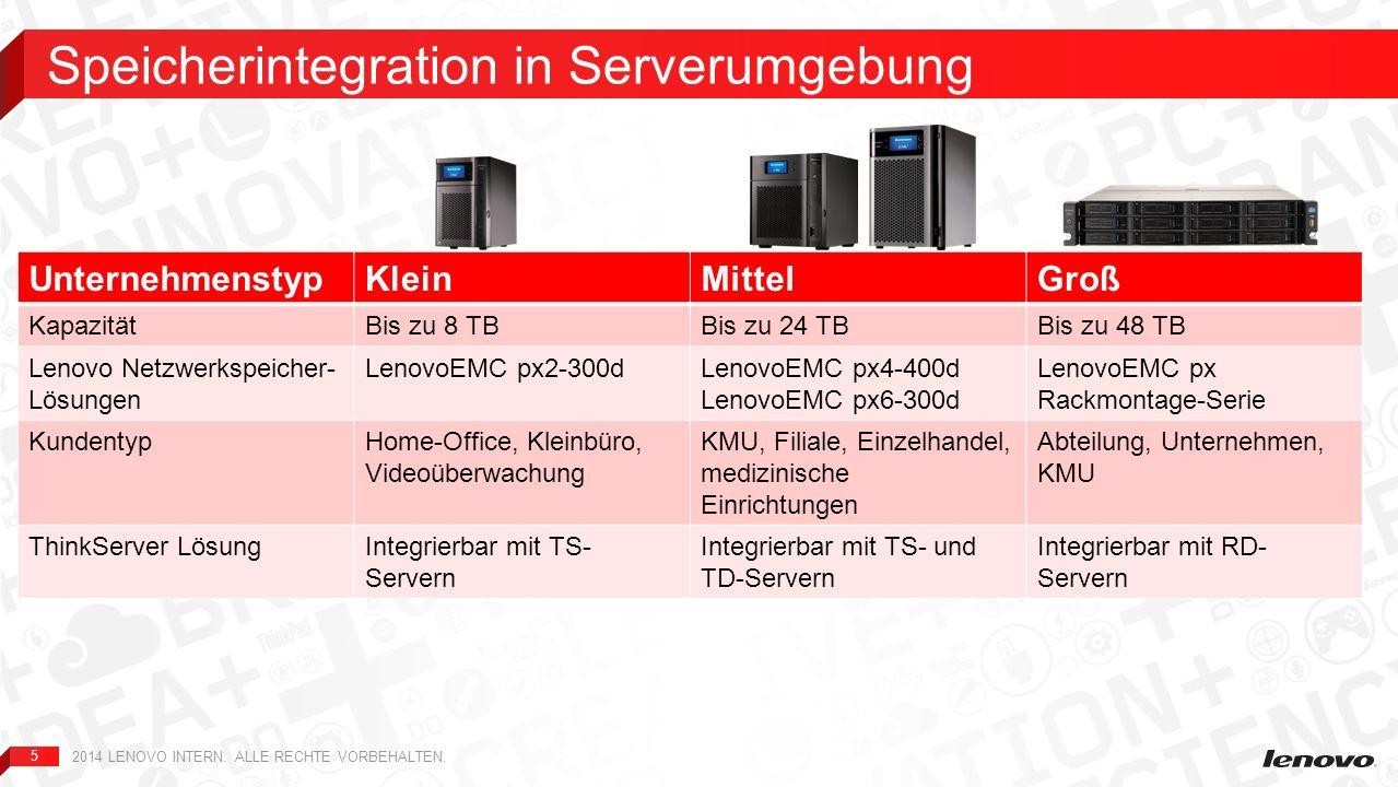 5 UnternehmenstypKleinMittelGroß KapazitätBis zu 8 TBBis zu 24 TBBis zu 48 TB Lenovo Netzwerkspeicher- Lösungen LenovoEMC px2-300dLenovoEMC px4-400d L