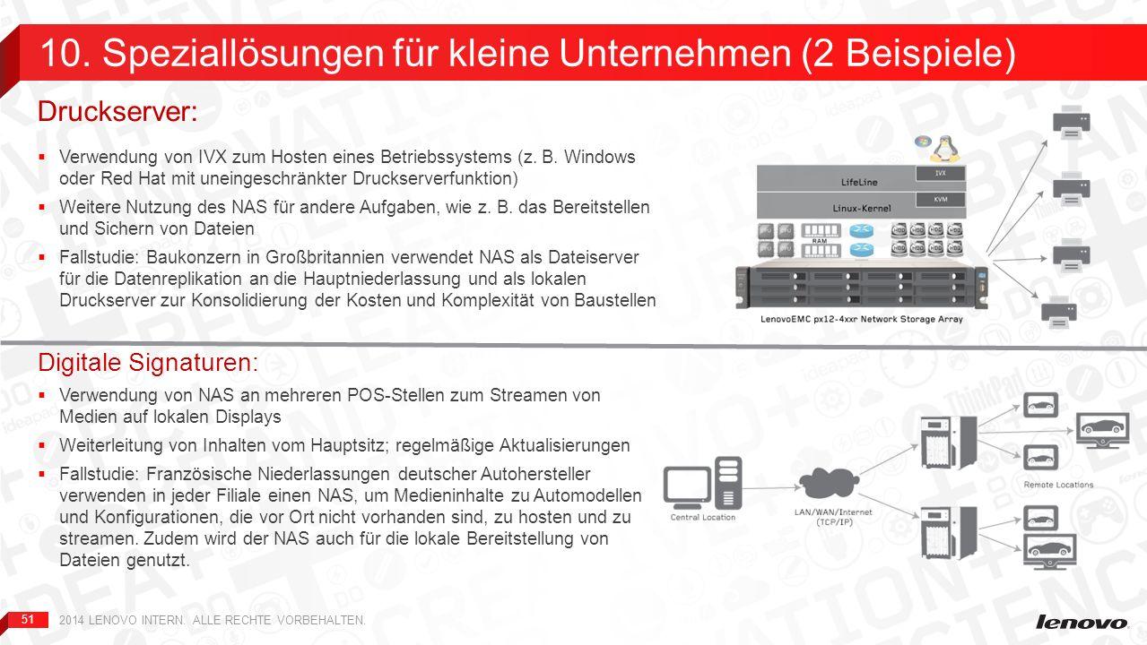 51 Verwendung von IVX zum Hosten eines Betriebssystems (z. B. Windows oder Red Hat mit uneingeschränkter Druckserverfunktion) Weitere Nutzung des NAS