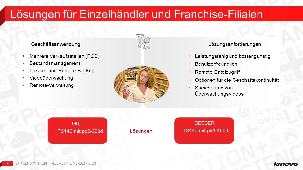 56 Lösungen für Einzelhändler und Franchise-Filialen 2014 LENOVO INTERN. ALLE RECHTE VORBEHALTEN. Leistungsfähig und kostengünstig Benutzerfreundlich