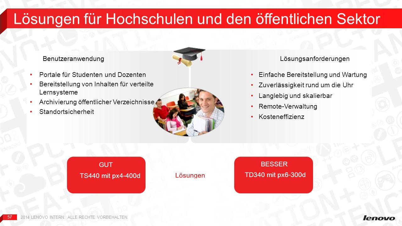 57 Lösungen für Hochschulen und den öffentlichen Sektor 2014 LENOVO INTERN. ALLE RECHTE VORBEHALTEN. Einfache Bereitstellung und Wartung Zuverlässigke