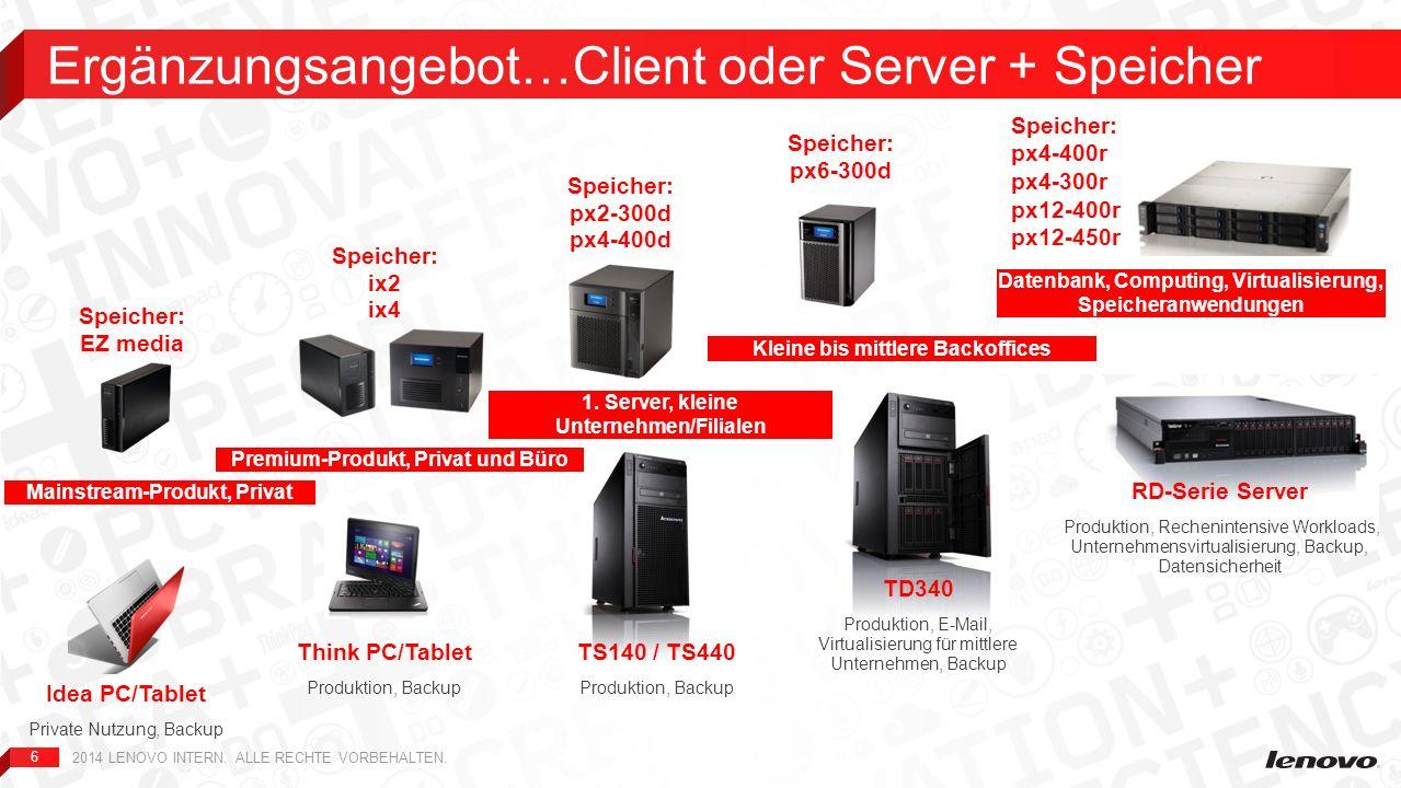 6 Ergänzungsangebot…Client oder Server + Speicher 2014 LENOVO INTERN. ALLE RECHTE VORBEHALTEN. TS140 / TS440 Produktion, Backup 1. Server, kleine Unte