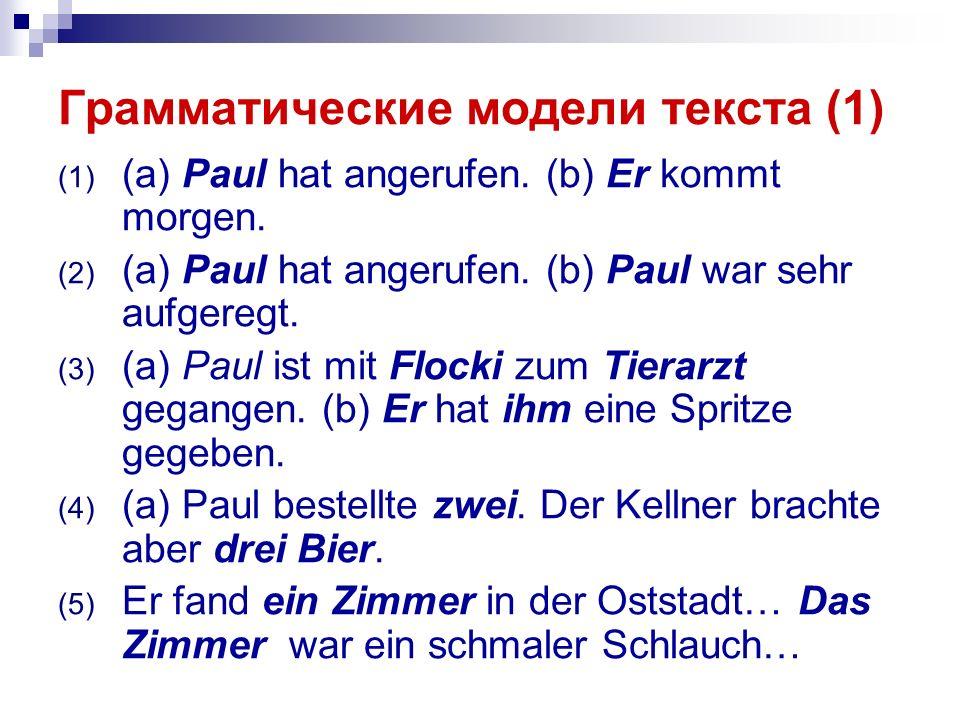 Грамматические модели текста (1) (1) (a) Paul hat angerufen.
