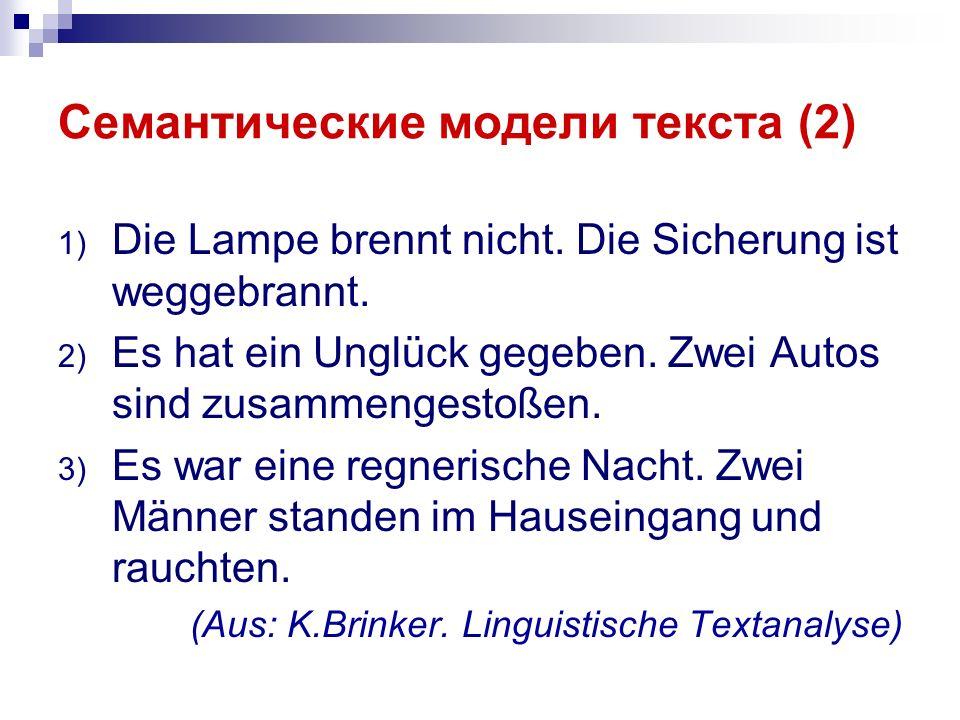 Семантические модели текста (2) 1) Die Lampe brennt nicht.