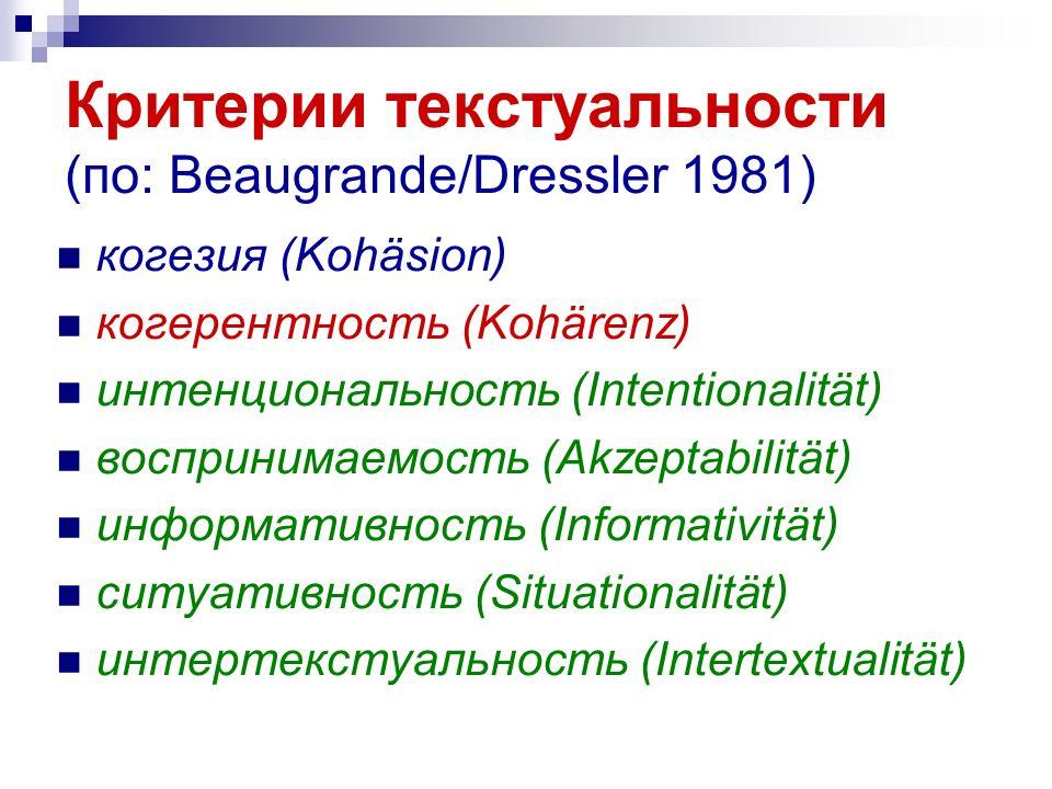 Критерии текстуальности (по: Beaugrande/Dressler 1981) когезия (Kohäsion) когерентность (Kohärenz) интенциональность (Intentionalität) воспринимаемость (Akzeptabilität) информативность (Informativität) ситуативность (Situationalität) интертекстуальность (Intertextualität)