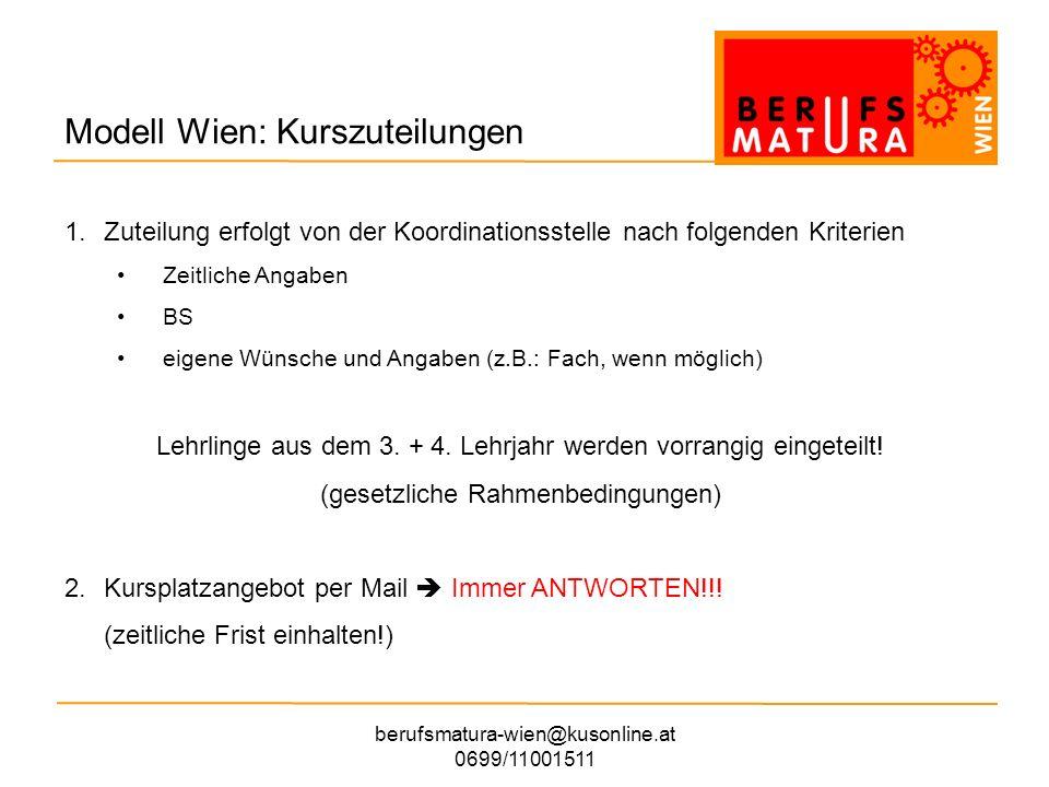 berufsmatura-wien@kusonline.at 0699/11001511 Modell Wien: Unterstützungen Pädagogische Betreuung – Lerncoaches LehrerIn an der BS, Kontaktdaten auf der Homepage Externes Coaching 4 Einheiten im Programm Kontaktdaten auf der Homepage (Menüpunkt Beratung/ Hilfe) persönliche Information in den Kursen