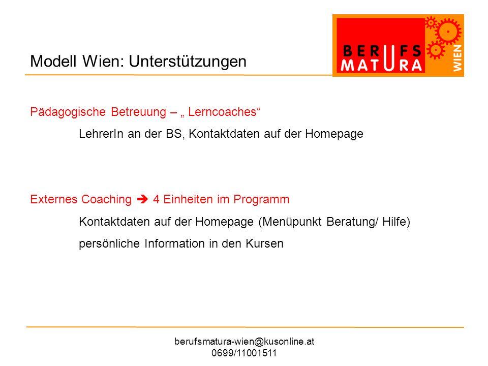 berufsmatura-wien@kusonline.at 0699/11001511 Modell Wien: Kursmodell - Prüfungen Deutschschriftl.