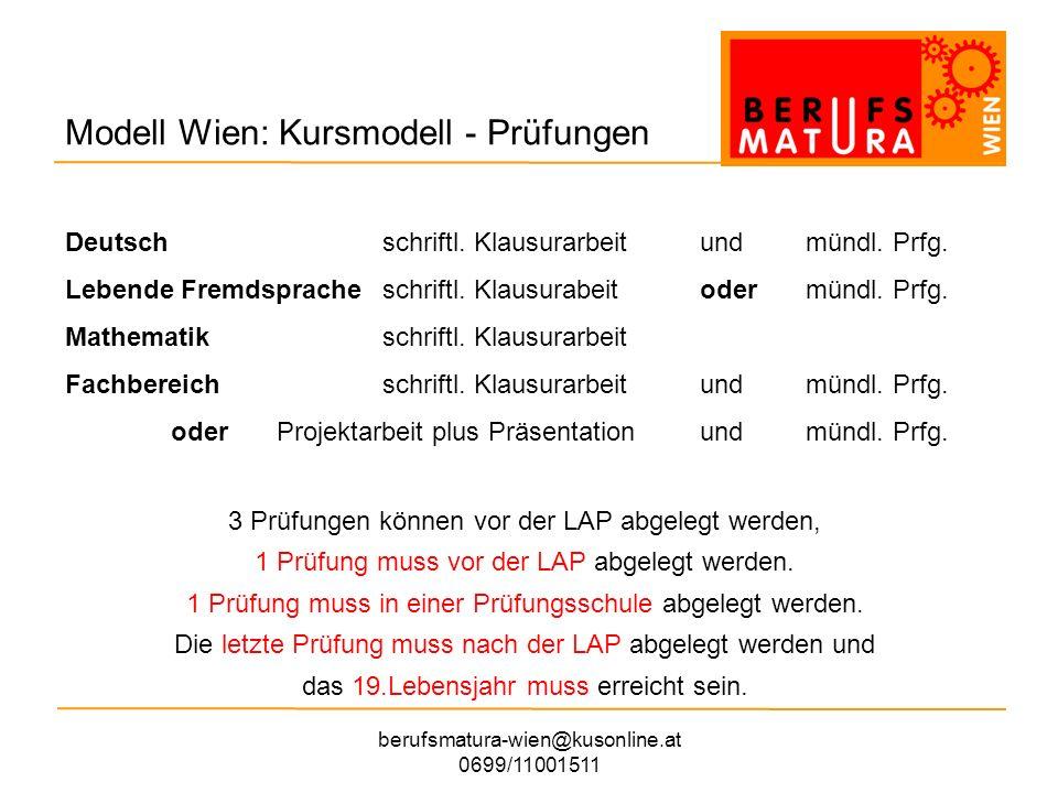 berufsmatura-wien@kusonline.at 0699/11001511 Modell Wien: Teilnahmebedingungen Ein Kursplatz kostet ca.