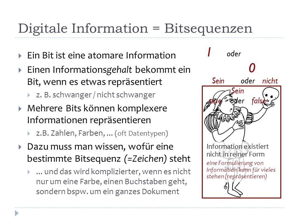 Bildinformation in einem etwas speziellen Format Die Brille implementiert die Decodierung Das Format gibt an, welche Brille man braucht Eine Analogie zur Zusammenfassung