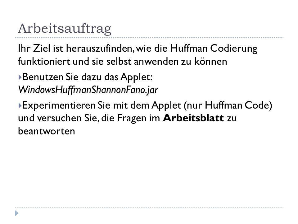 Arbeitsauftrag Ihr Ziel ist herauszufinden, wie die Huffman Codierung funktioniert und sie selbst anwenden zu können Benutzen Sie dazu das Applet: Win