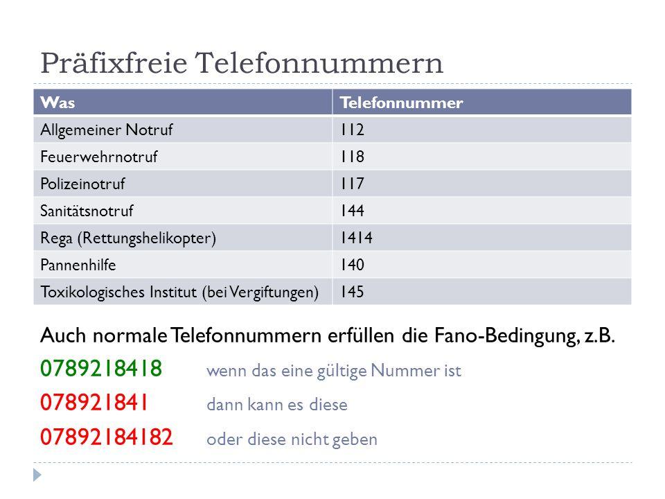 Präfixfreie Telefonnummern WasTelefonnummer Allgemeiner Notruf112 Feuerwehrnotruf118 Polizeinotruf117 Sanitätsnotruf144 Rega (Rettungshelikopter)1414
