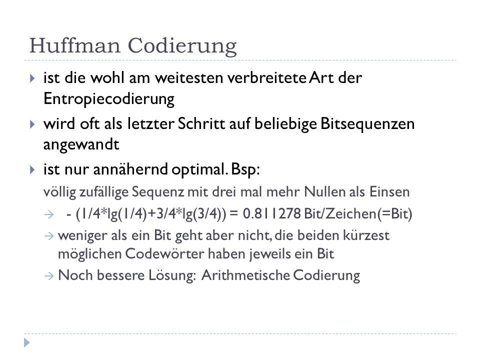 Huffman Codierung ist die wohl am weitesten verbreitete Art der Entropiecodierung wird oft als letzter Schritt auf beliebige Bitsequenzen angewandt is