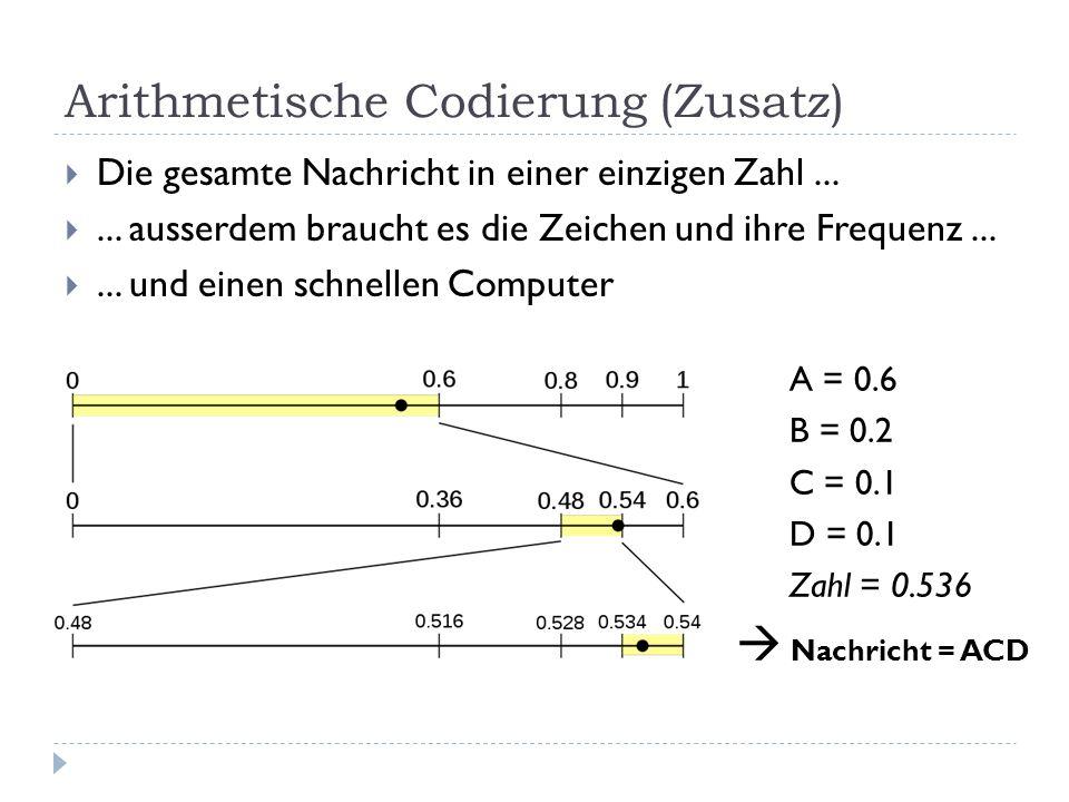 Arithmetische Codierung (Zusatz) Die gesamte Nachricht in einer einzigen Zahl...... ausserdem braucht es die Zeichen und ihre Frequenz...... und einen