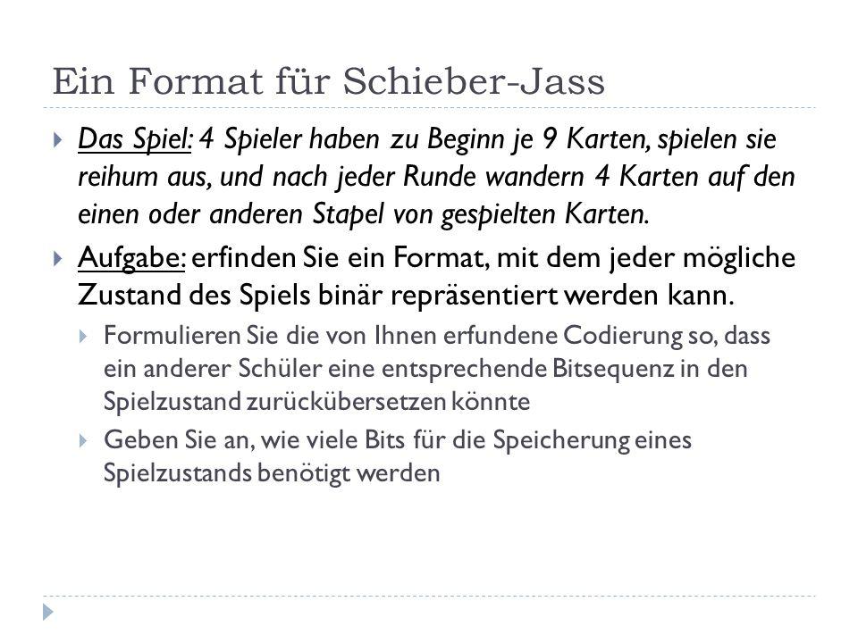 Ein Format für Schieber-Jass Das Spiel: 4 Spieler haben zu Beginn je 9 Karten, spielen sie reihum aus, und nach jeder Runde wandern 4 Karten auf den e