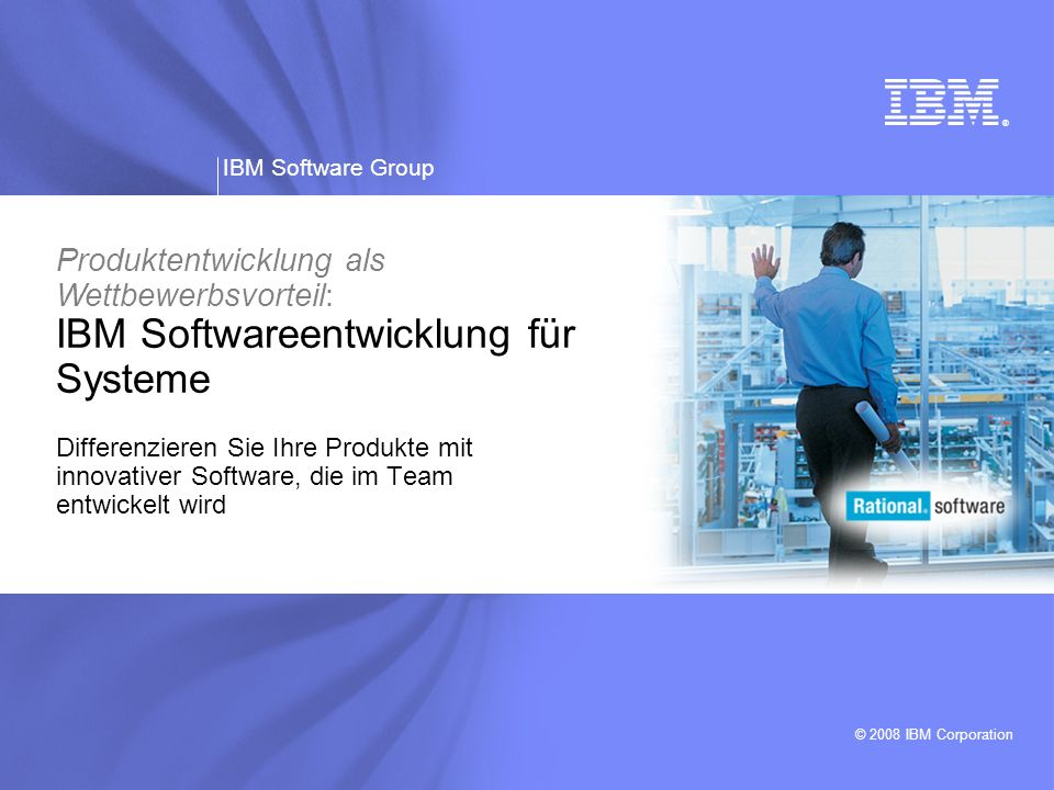 IBM Software Group | Rational software 22 Ergebnisse beim Kunden Qualitätssteigerung von 30 bis 70 % Verbesserung der Zykluszeiten um 20 bis 50 % Kostensenkungen von 25 bis 60 % Umfassendes Testprozessmodell -Ertrag von 7:1 aus Systems-Engineering- Investitionen Integrierte, durchgängige Technologie -Reduzierung des Aufwands für manuelle Tests um über 90 % Branchenbasierte Testlösungen -Einsparungen von 10 bis 20 % durch die Wiederverwendung von Testfällen und -scripts Erweiterte Fehleranalyse- und Qualitätsmanagementprozesse -Reduzierung der Fehlerzahl um bis zu 69 % Standardisierte Qualitätsangebote Konkrete Einsparungen bei Simulationen und Tests durch Automatisierung der modellgesteuerten Entwicklung Quelle: GBS Test Practices Investor Board Briefing