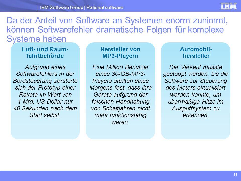 IBM Software Group | Rational software 11 Aufgrund eines Softwarefehlers in der Bordsteuerung zerstörte sich der Prototyp einer Rakete im Wert von 1 M
