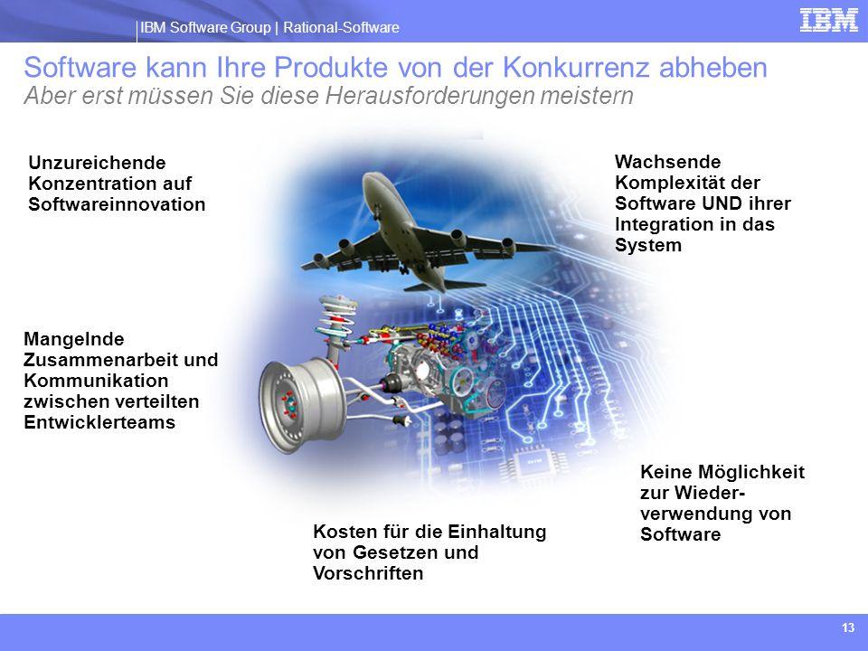 IBM Software Group | Rational software IBM Software Group | Rational-Software 13 Keine Möglichkeit zur Wieder- verwendung von Software Unzureichende K