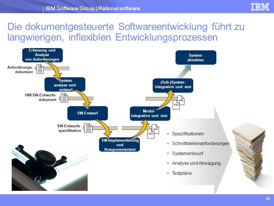 IBM Software Group | Rational software 18 Die dokumentgesteuerte Softwareentwicklung führt zu langwierigen, inflexiblen Entwicklungsprozessen Erfassun