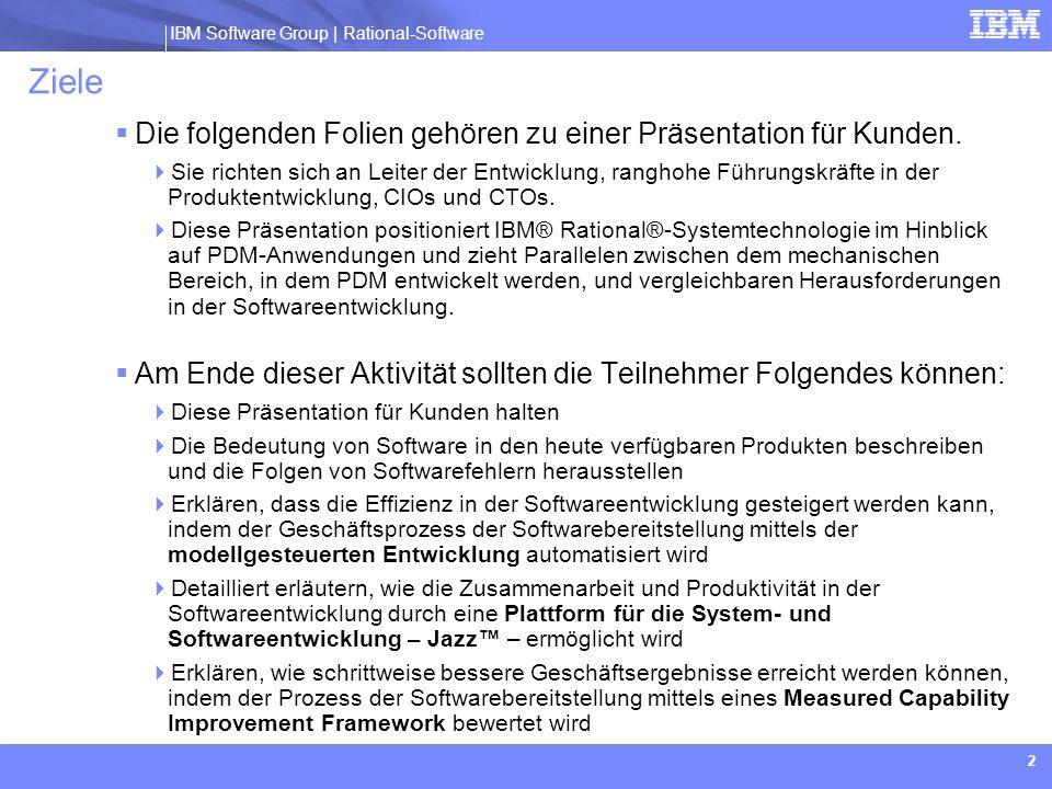IBM Software Group | Rational software IBM Software Group | Rational-Software 63 Beispiel eines Softwareentwicklungs- prozesses Projektmgmt.