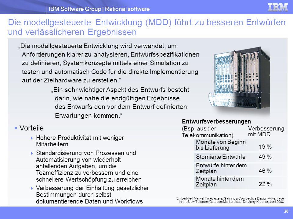IBM Software Group | Rational software 20 Die modellgesteuerte Entwicklung wird verwendet, um Anforderungen klarer zu analysieren, Entwurfsspezifikati