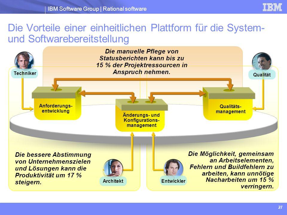 IBM Software Group | Rational software 27 Die Möglichkeit, gemeinsam an Arbeitselementen, Fehlern und Buildfehlern zu arbeiten, kann unnötige Nacharbe