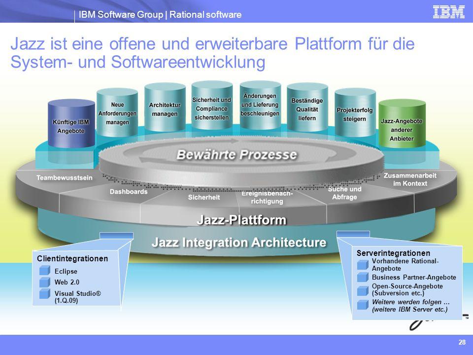 IBM Software Group | Rational software 28 Jazz ist eine offene und erweiterbare Plattform für die System- und Softwareentwicklung Eclipse Web 2.0 Visu