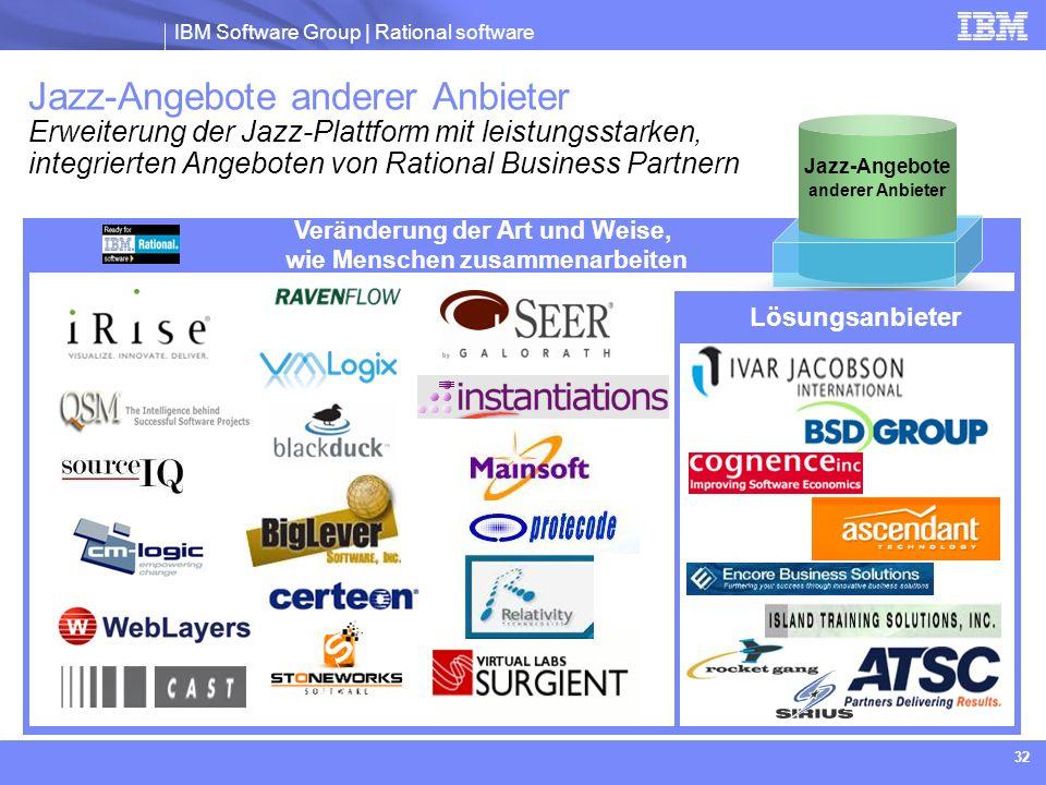IBM Software Group | Rational software 32 Jazz-Angebote anderer Anbieter Erweiterung der Jazz-Plattform mit leistungsstarken, integrierten Angeboten v