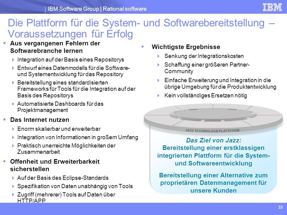 IBM Software Group | Rational software 33 Das Ziel von Jazz: Bereitstellung einer erstklassigen integrierten Plattform für die System- und Softwareent