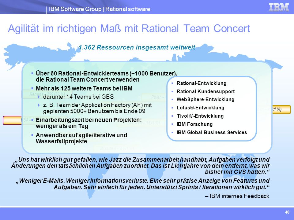 IBM Software Group | Rational software 40 Kanada – 299 (22 %) Israel – 29 (2 %) China – 78 (6 %) Japan – 4 (<1 %) Frankreich – 30 (2 %) USA – 639 (47