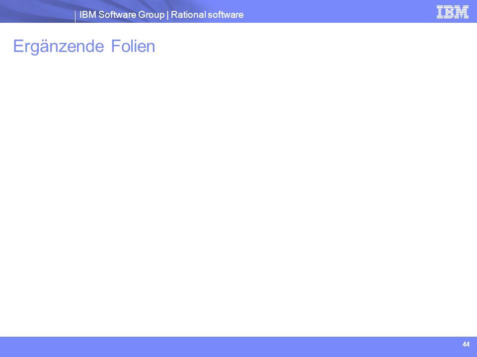 IBM Software Group | Rational software 44 Ergänzende Folien