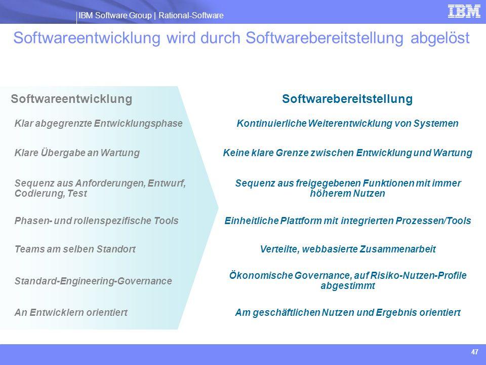 IBM Software Group | Rational software IBM Software Group | Rational-Software 47 Softwareentwicklung Softwareentwicklung wird durch Softwarebereitstel