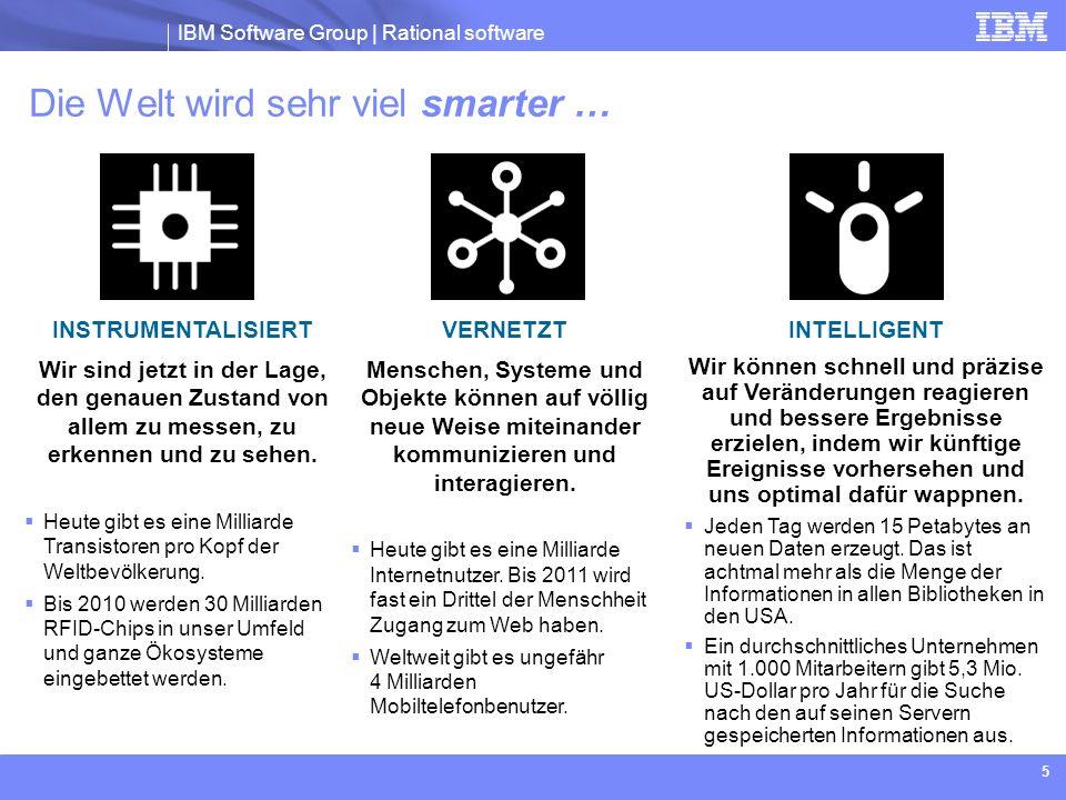 IBM Software Group | Rational software 5 Die Welt wird sehr viel smarter … INSTRUMENTALISIERT Wir sind jetzt in der Lage, den genauen Zustand von alle