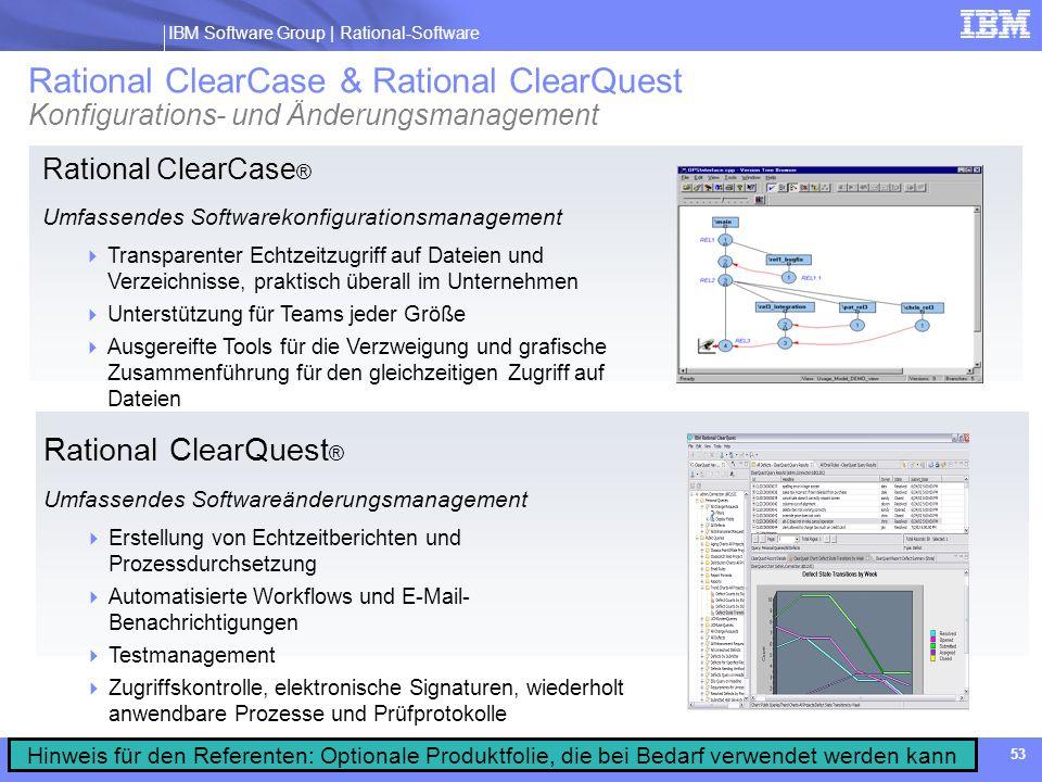 IBM Software Group | Rational software IBM Software Group | Rational-Software 53 Rational ClearCase ® Umfassendes Softwarekonfigurationsmanagement Tra