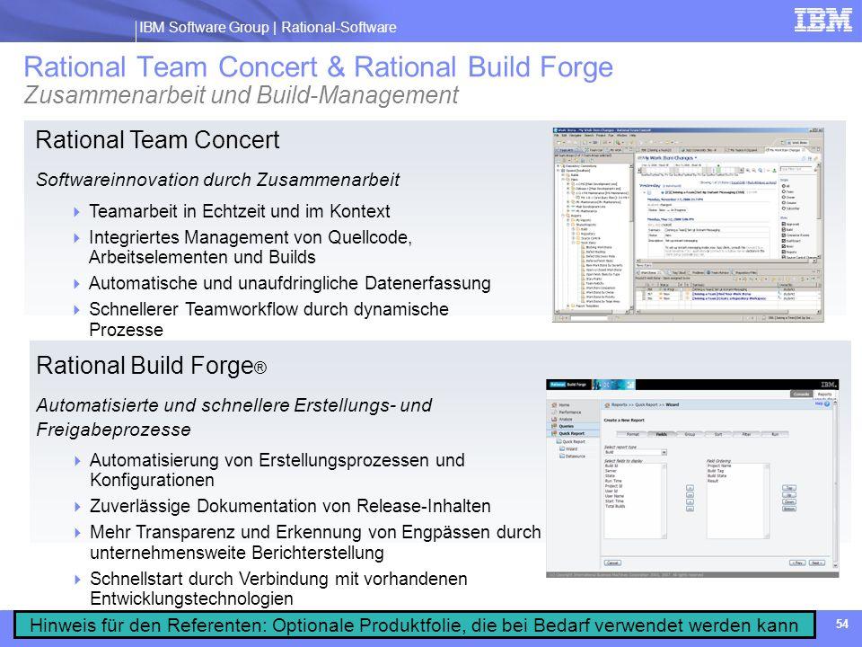 IBM Software Group | Rational software IBM Software Group | Rational-Software 54 Rational Team Concert Softwareinnovation durch Zusammenarbeit Teamarb