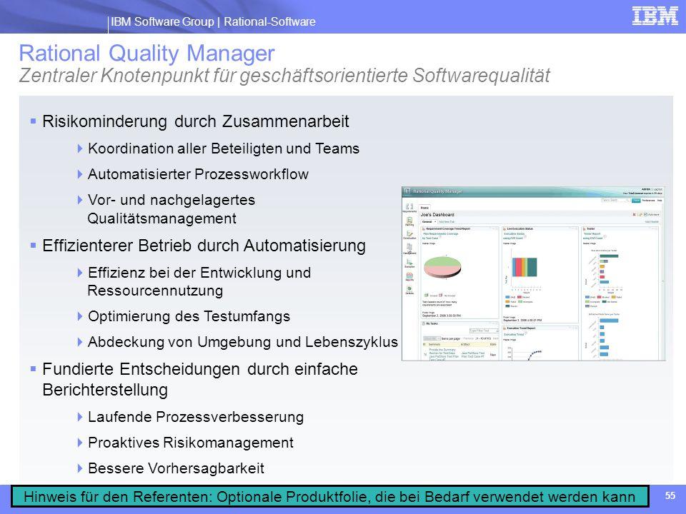 IBM Software Group | Rational software IBM Software Group | Rational-Software 55 Rational Quality Manager Zentraler Knotenpunkt für geschäftsorientier