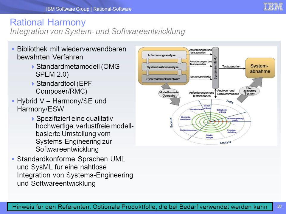 IBM Software Group | Rational software IBM Software Group | Rational-Software 58 Bibliothek mit wiederverwendbaren bewährten Verfahren Standardmetamod