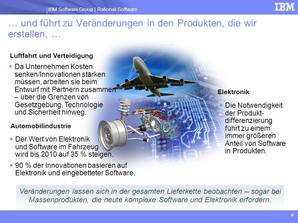 IBM Software Group | Rational software IBM Software Group | Rational-Software 7 Stärkerer Schwerpunkt auf Software-Engineering Volle Rückverfolgbarkeit von Anforderungen im gesamten Produkt- lebenszyklus Ganzheitliche System- planung und -interaktion 3D-CAD PDM-Schwerpunkt auf mechanischer Stückliste Organisations- und Prozess- verbesserung 2D-CAD Ad-hoc- Datenmanagement Keine Organisations- /Prozessänderung Produkt- entwicklung Toolgestützter Entwurf Reengineering Innovation … und in der Art und Weise, wie wir sie erstellen Der Produktentwicklungsprozess entwickelt sich weiter – der Schwerpunkt verschiebt sich von den Kosten zur Innovation Heute und in Zukunft1980 bis heute1970 bis 1980 Globalisierung von Lieferanten, Arbeitskräften und Märkten Neue Technologie für Kosten- und Zeit- ersparnisse, mehr Flexibilität Produktivitätssteigerung durch Automatisierung Geschäftliche Faktoren Geschäftlicher Nutzen Rasche Innovation, wobei Software ein wichtiges Unterscheidungsmerkmal ist Zeit- und Kosteneinsparungen Höhere Produktivität und Qualität