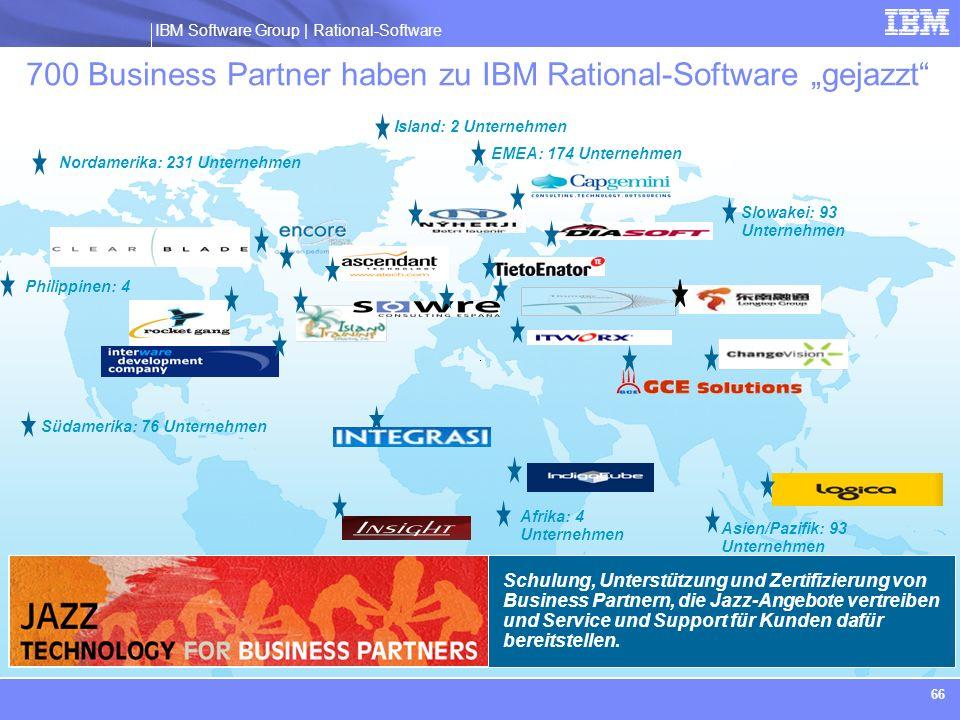 IBM Software Group | Rational software IBM Software Group | Rational-Software 66 Schulung, Unterstützung und Zertifizierung von Business Partnern, die